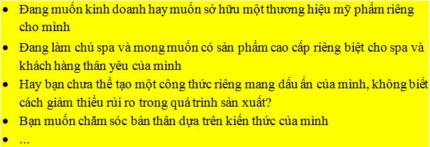 Dạy nghề gia công mỹ phẩm Quang Minh-Quang Minh Cosmetic